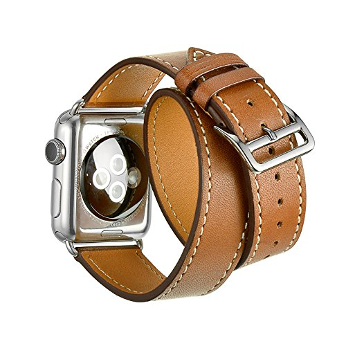 Apple Watch Band,Kartice(TM) Luxury Genuine Leather watch Band strap Bracelet Replacement Wrist Band With Adapter Clasp for iWahtch Apple Watch & Sport & Edition–Double tour brown 38mm