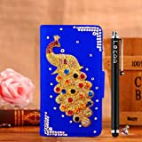 Locaa(TM) HTC Desire 510 HTC510 3D Bling Peacock Case + Phone stylus + Anti-dust ear plug Deluxe Luxury Crystal Pearl Diamond Rhinestone eye-catching Beautiful Leather Retro Support bumper Cover Card Holder Wallet Cases [Peacock Series] Purple case - Col
