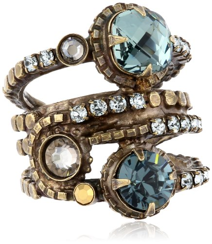 Sorrelli Light Blue Stacked Circular Crystal Antique Gold-Tone Adjustable Ring