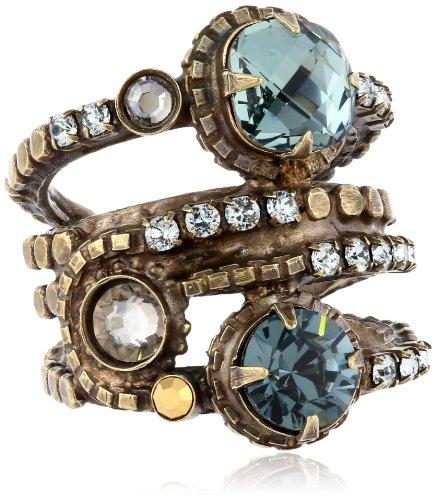 Sorrelli Light Blue Stacked Circular Crystal Antique Gold-Tone Adjustable Ring