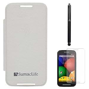 SumacLife PU Leather Flip Cover Case for Motorola Moto E (White) + Matte Screen + Stylus