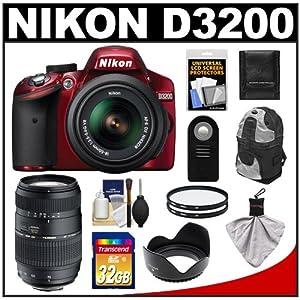 Nikon D3200 Digital SLR Camera & 18-55mm G VR DX AF-S Zoom Lens (Red) with 70-300mm Lens + 32GB Card + Backpack + Filters + Remote + Accessory Kit