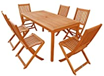 Hot Sale LuuNguyen - Win 7-Piece Hardwood Outdoor Furniture Dining Set (Natural Wood Finish)