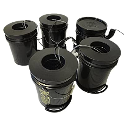 Hydro West AquaBuckets 5 Gallon 4 Site Deep Water Culture Hydroponic System with Mixing Cell and 200 Mesh Filter