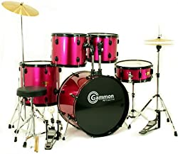 New Drum Set Pincess Pink 5 Piece Complete Full Size with Cymbals Stands Stool Sticks