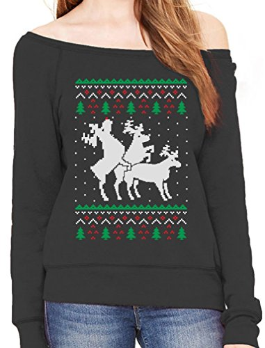 Funny Ugly Christmas Sweater Party Humping Reindeer Off shoulder sweatshirt