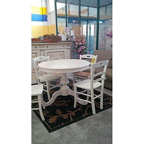 Round Wood Table Extendible Various Sizes As Shown, White