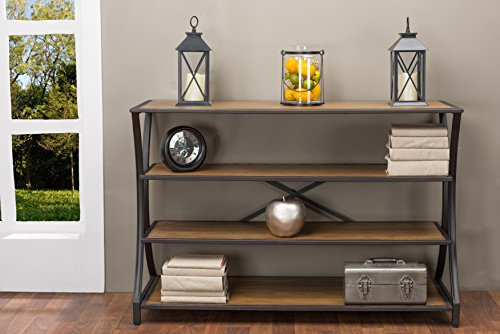 Baxton Studio Lancashire Wood and Metal Console Table, Brown (Industrial Console compare prices)