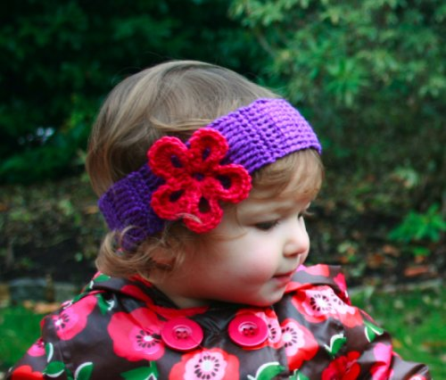 Crochet headband with flower sizes baby to adult