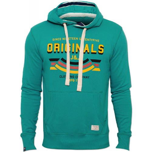 Jack and Jones Mens Green Hersh Hoody Drawstring Hood Chest Print Cotton Green XX-Large