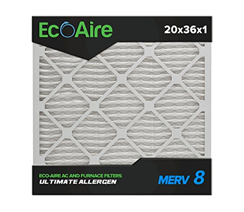 Eco-Aire 20 x 36 x 1 Premium MERV 8 Pleated Air Conditioner Filter, Box of 6