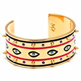 MFP - MariaFrancescaPepe / Gold Plated Brass / Purple and Blue Swarovski Crystals / Enamel Eye Design / Bangle