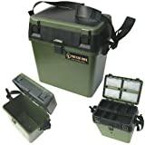 Seat Box & Fishing Tackle Box with Padded Strap & Seat Pad. Sea Boat or Coarse