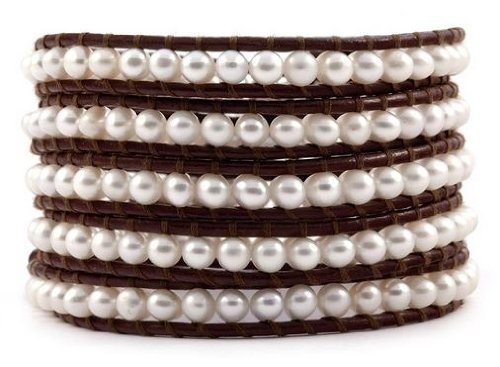 Chan Luu Chan Luu Pearl White Brown Leather Wrap Bracelet BS-1289