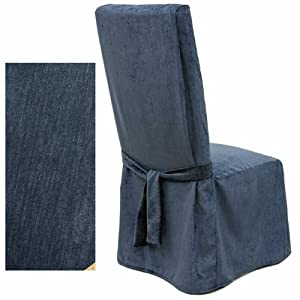 Chenille Navy Blue Dining Chair Covers Set Of Four 231 Home Amp
