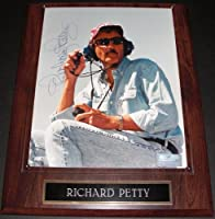 Richard Petty Autographed / Hand Signed Nascar Racing 8x10 Photo on a Wooden wall plaque