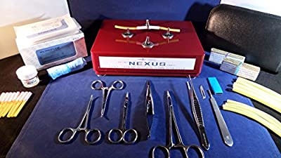 Suturing Training Kit - NEXUS PRO Edition (Gloss RED) - Sigma Lance's Tendon / Vessel Anastomosis Suture kit