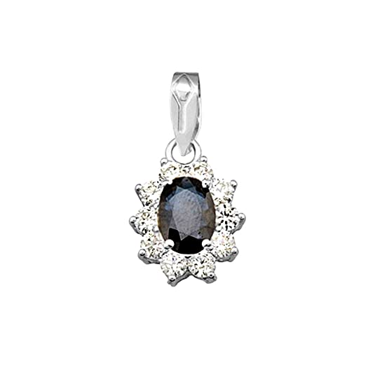 18k white gold pendant oval sapphire center stone 7x5mm. [AA4817]