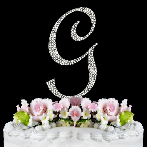 Completely Covered Swarovski Crystal Silver Wedding Cake Toppers ~ Large Monogram Letter G back-663874