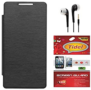 Tidel Black Durable Premium Flip Cover Case For Microsoft Lumia 435 With Tidel Screen Guard & 3.5mm Jack Handsfree Earphone
