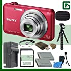 Sony DSC-WX80 Digital Camera (Red) + 16GB Green's Camera Bundle 1