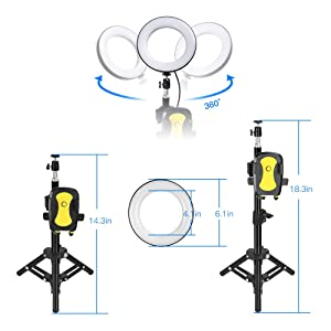 ZOMEI Selfie Light,6'' Ring Light with Tripod Stand and Cell Phone Holder Desktop LED Lamp Mini Camera Light for Live Stream Makeup You Tube Live Stea