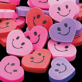 144 Mini Smile Face Erasers - 1