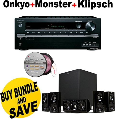 Onkyo TX-NR545 7.2-Channel Network A/V Receiver + Klipsch HDT-600 Home Theater System + Monster - Platinum XP Clear Jacket MKIII 50' Compact Speaker Cable - Clear/Copper Bundle