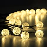 Innoo Tech Solar Outdoor String Lights 19.7 ft 30 LED Warm White Crystal Ball Christmas Globe Lights for Garden Path - Party - Bedroom Decoration
