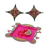Suman Creations Acrylic Pooja Thali With Shubh Labh And Chopda Showpiece (0.5X16.51X12.7, Red, S235)