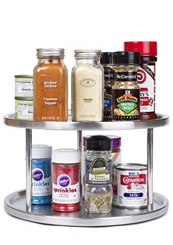 Estilo Stainless Steel Lazy Susan - 2 Tier Design, 360-degree Turntable (Turntable Spice Rack compare prices)