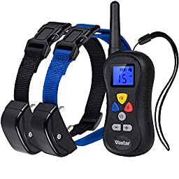 Vastar Professional 330 Yards Remote Training E-collar for up to 2 Dogs from 25 to 100 lbs, with Safe Beep, Vibration and Shock Electronic Collar with Silicone, Visible Control Buttons