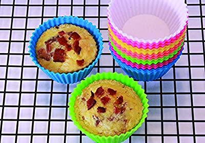 Silicone Baking Cups Set of 12+1 No need for Paper Wrappers Reusable Non-stick Molds No BPA, Easy Release Cupcake Liners by My Baker's Dozen 7 Bright Colors, Comes in Own Storage Container