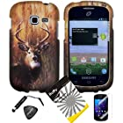 4 items Combo: ITUFFY LCD Screen Protector Film + Mini Stylus Pen + Case Opener + Outdoor Wild Deer Grass Camouflage Design Rubberized Snap on Hard Shell Cover Faceplate Skin Phone Case for Samsung Galaxy Centura S738C / Samsung Galaxy Discover S730G (Straight Talk / Net10/ TracFone)