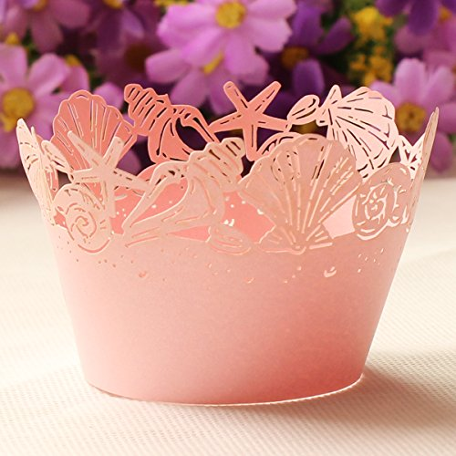 Pink Sea Shells Seashell Starfish Cupcake Wrapper Collars Wedding Party Cake Liners Decoration (24Pcs)