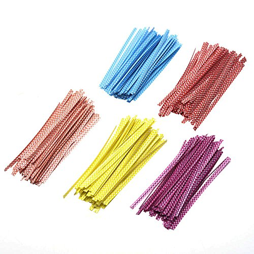 Mudder 500 Pieces Dot Twist Ties 4 Inches Bag Ties for Cellophane Party Bag (Cellophane Bag Ties compare prices)