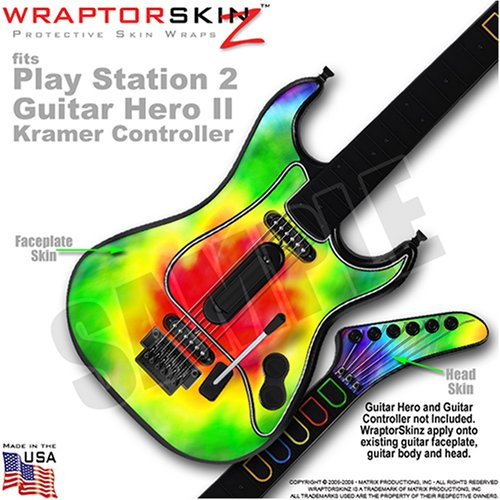 PS2 Guitar Hero II ( 2 ) Kramer Guitar Tie Dye WraptorSkinz TM Faceplate Skin by TuneTattooz TM