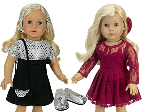 18 Inch Doll Special Occasion Dress Set with Two Dresses, a Purse, Shoes and Hair Accessories