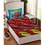 Disney- Athom Trendz- Cars Cotton Single Bed Sheet Set- Red