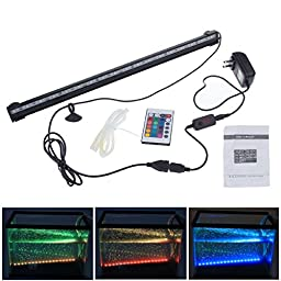 DLLL RGB 46cm 5.5W 27leds Energy Saving LED Fish Tank Aquarium Bar Stick Strip Waterproof Submersible Light Lamp LED Aquarium Light Bar Strip for Aquarium Fish Tank Flood Lights 12 Inch Blue led light Underwater LED Aquarium Light Strip & Airstone for Aqu