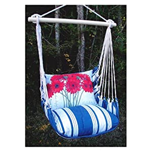 Magnolia Casual Hammocks Magnolia Casual Marina Stripe Geranium Hammock Chair and Pillow Set, Blue, Polyester