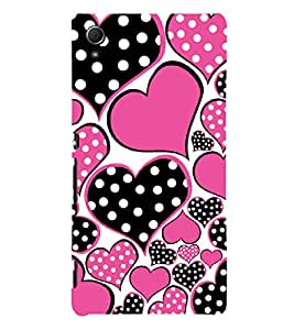 Hearts 3D Hard Polycarbonate Designer Back Case Cover for Sony Xperia Z4