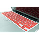 """Kuzy - EU/UK RED Keyboard Cover Silicone Skin for MacBook Pro 13"""" 15"""" 17"""" (with or w/out Retina Display) iMac and MacBook Air 13"""" (European/ISO Keyboard Layout) - Red"""