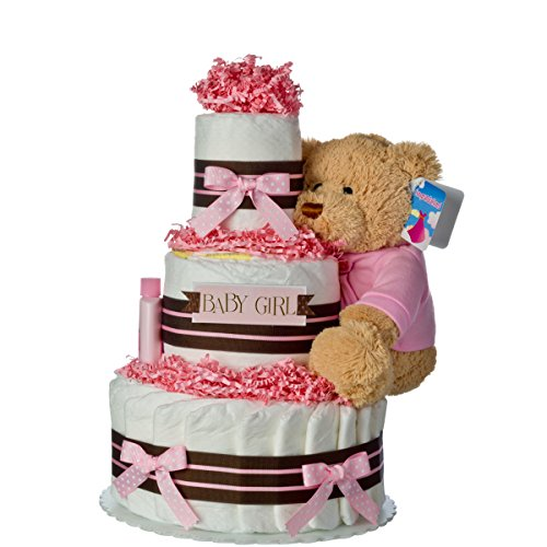 Diaper Cake - Darling Girl Theme Handmade By Lil Baby Cakes - Baby Girl Gift - Makes a Great Baby Shower Centerpiece