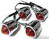 ブレット ウィンカー ランプ 汎用 12V アメリカン バイク 用 シルバー(4個)