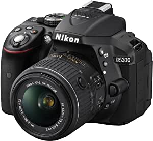 Nikon D5300 Appareil photo numérique Réflex 24,2 Mpix Kit Boîtier + Objectif AF-S DXVR II 18-55 Mm Noir