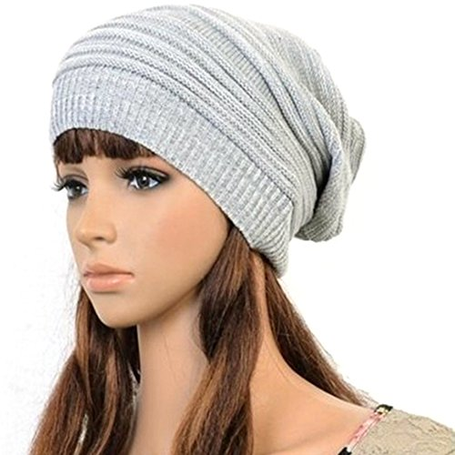 Hot Fashion Slouch Baggy Beanie Cap Slouchy Skull Hat Mens Womens Knit Hat (Light Grey)