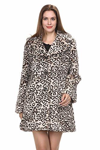 Women's Elegant Vintage Leopard Print Lapel Faux Fur Coat Mid-Length