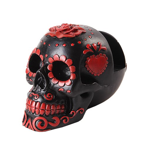 RED AND BLACK DAY OF THE DEAD SUGAR SKULL BUSINESS CARD HOLDER STATUE