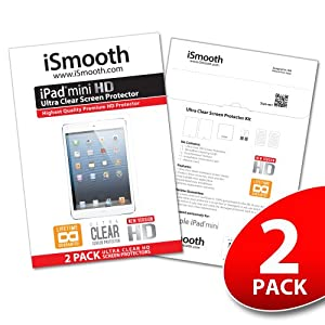 Apple iPad Mini Screen Protector - NEW 2013 Ultra Premium HD Version - iSmooth - Free Lifetime Replacement Guarantee - Bubble Free Installation Guaranteed - Package Includes BONUS Premium Microfiber Cleaning Cloth, Two (2) Dust Removal Stickers, Installation Tips with Video, and Two (2) Ultra Clear Screen Protectors